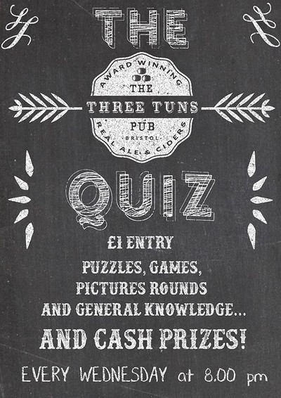 Pub Quiz at the Three Tuns at The Three Tuns in Bristol