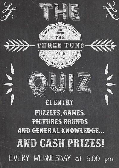 The Three Tuns weekly Pub Quiz at The Three Tuns in Bristol