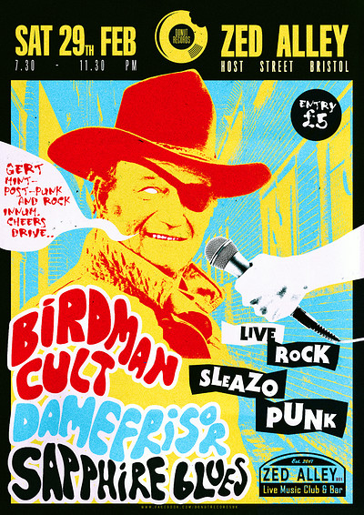 Birdman Cult/DAMEFRISØR/Sapphire Blues/Fawner at Zed Alley in Bristol