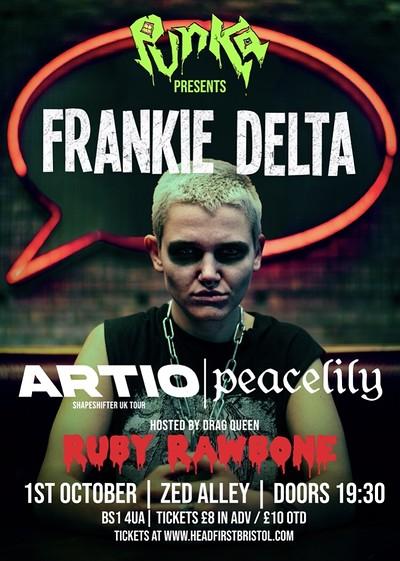 Punka Presents: FRANKIE DELTA / ARTIO / PEACELILY at Zed Alley in Bristol