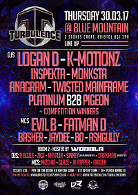 Turbulence DnB LoganD+EvilB-Kmotionz+FatmanD at Blue Mountain in Bristol