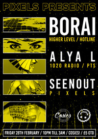 Pixels Presents: Borai / Alya L / Seenout at Cosies in Bristol