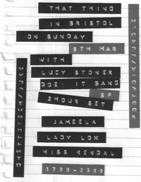 That Thing with Lucy Stoner + more at Jam Jar in Bristol