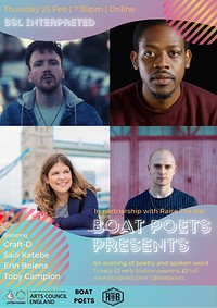 BOAT POETS PRESENTS - with Raise The Bar at Online in Bristol