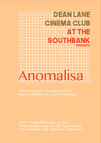 Dean Lane Cinema Club Presents: Anomalisa at Southbank in Bristol